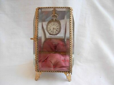 ANTIQUE FRENCH GILT BRASS BEVELED GLASS JEWEL BOX,POCKET WATCH HOLDER,LATE 19th