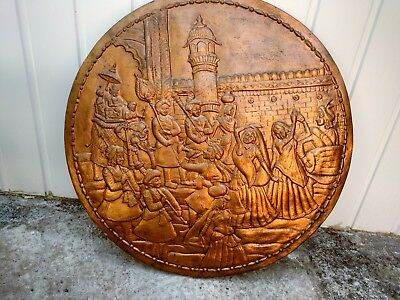 Vintage Large Asian Indian Copper Colour Decorative Wall Plaque Elephant Dancers