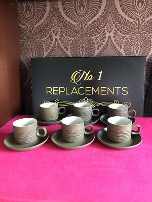 6 x Denby Chevron 4 Bands Tea Cups And Saucers Last 2 Sets Available
