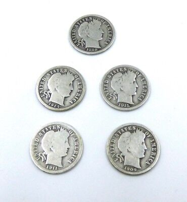 1908  Barber Dime   Plus 4 Additional    Lot  5 Us Coins