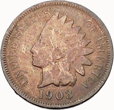 1903 INDIAN Head Cent United States of America  Antique USA Coin Liberty i43931