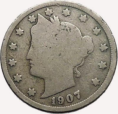 1907 LIBERTY HEAD NICKEL 5 Cent United States of America USA Antique Coin i43555