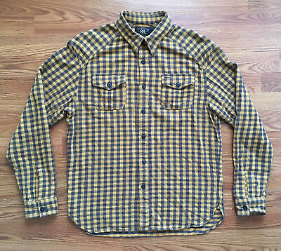 401e19e869ba ... shirt 6a40a cffc2 where to buy 195 rrl double rl ralph lauren mens black  yellow plaid check button down ...