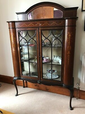 Antique Wood and Glass Display Cabinet