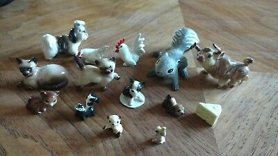 Vintage Hagen Renaker lot DW cat dog squirrel bull pelican cheese miniature