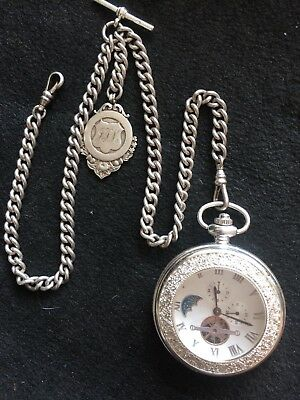 vintage heavy  Solid Silver Double Albert Chain