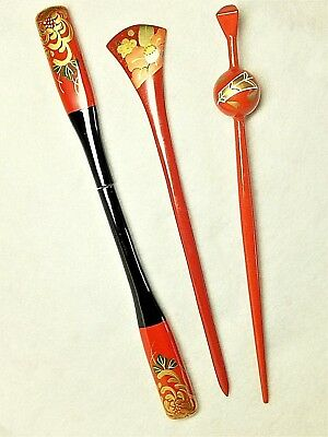 Vintage Japanese Kanzashi 3 piece Makie Kimono hairpin Hair Ornament Japan #8613