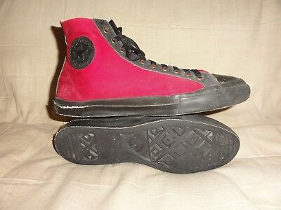 Vintage Converse Red Black High Tops Made In Usa Size 10 Mens