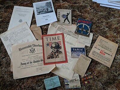 Vintage WW2 US Army Lot of papers, RARE Time Magazine discharge imperial dragon