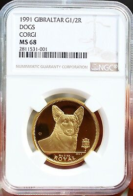 1991 Gibraltar Gold Corgi Dog Coin NGC MS68 1/2 Oz CERTIFIED AUTHENTIC GUARANTY!