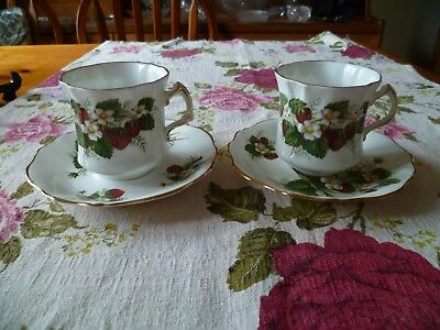 2 Lovely Hammersley English China Tea Cups & Saucers Strawberry