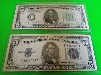 1934 5 dollar bill lot blue seal and green seal UNC