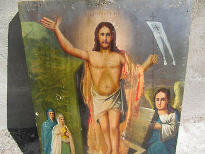 """Antique 19c Russian Orthodox Hand Painted Wood Icon """"Resurrection""""."""
