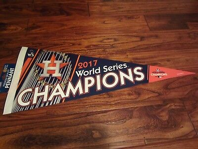 """2017 Houston Astros World Series Champions Roll Up Pennant NEW MLB 12"""" x 30"""""""
