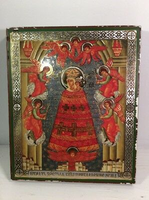 Vtg Religious Angels Saint Hanging Wood Plague Gold Shiny Foil Mary Christ