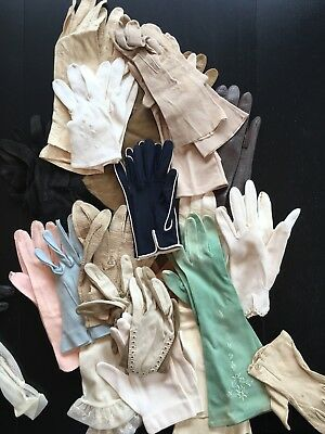 Vintage Antique ladies gloves 20 pairs and 9 orphans various lengths/fabrics