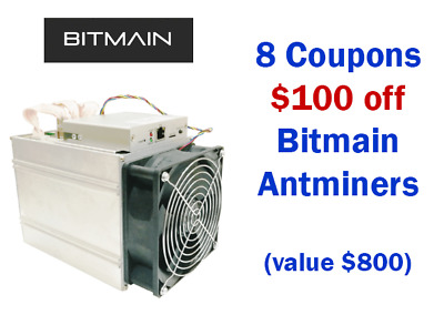 8x $100 Bitmain Coupons - $100 off Antminer E3 Z9 L3 D3 S9 Expires July 31 - NR