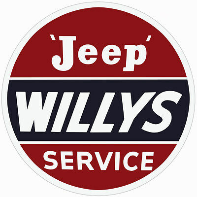 Extra Large Jeep Willys Service Station Gas and Motor Oil Sign Round