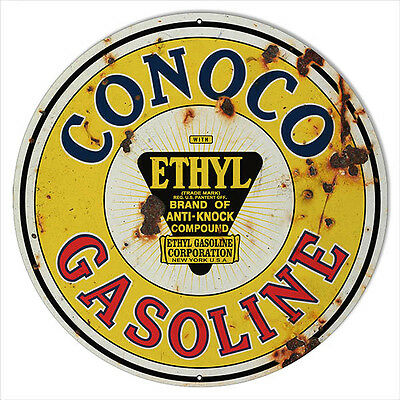 Large Aged Looking Conoco Gasoline Motor Oil Sign 18 Round