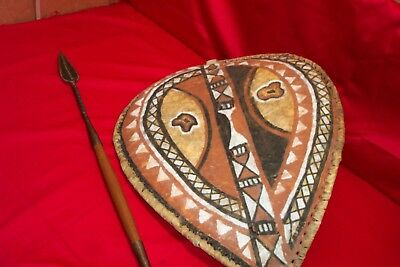 Vintage AUTHENTIC Maasai shield spear set African