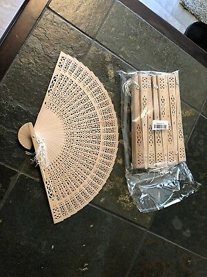 Chinese Wooden Bamboo Folding Hand Fan Wedding Party Flower Pattern Vintage Gift