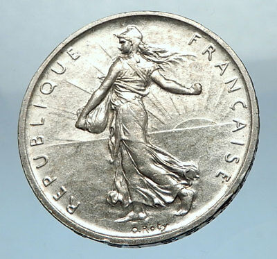 1960 FRANCE French LARGE Silver 5 Francs Coin w La Semeuse SOWER WOMAN i68211