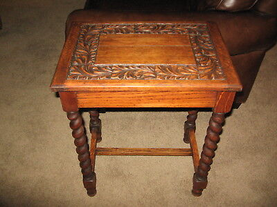 Antique Carved Oak Table with Barley Twist Legs