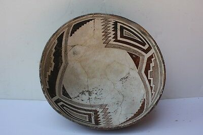 XL Ancient Mimbres Black White & Brown Indian Abstract Pottery Bowl