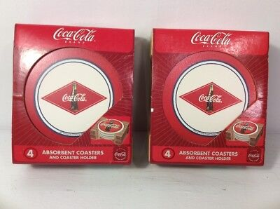 Two Packs of 4 Coca Cola Absorbent Stoneware Coasters Cork Back Coke New In Box