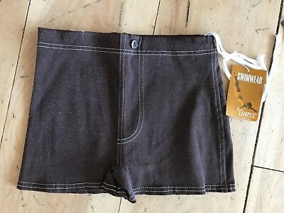 Vintage Campus Swim Trunks boys Mens Brown New with tag Made In USA New with tag