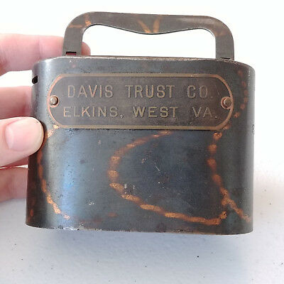 #1371 - Antique Davis Trust Co Elkins WV  . COIN BANK with Key - FREE S&H