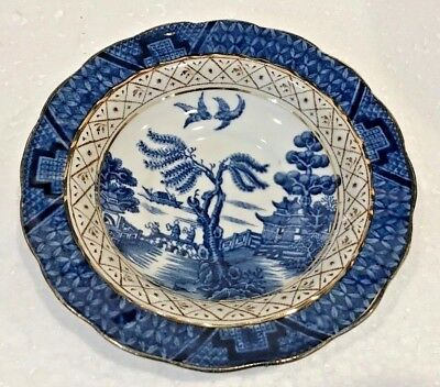 Vintage Booths Real Old Blue Willow 9072 Saucer Scalloped Edge Gold