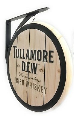 TULLAMORE DEW IRISH WHISKEY SIGN - 2 SIDED -12 inch Diamater