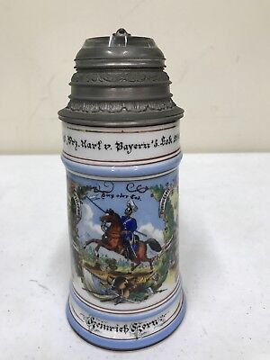 Antique German Military Regimental Lithopane Lidded Beer Stein Officer Top