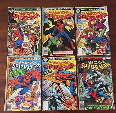 AMAZING SPIDER-MAN Lot. 170 176 179 187 189 190 Spiderman! Bronze Age!