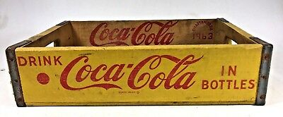 Vtg Coca Cola Yellow Wood Advertising Crate 1963 Chattanooga Bottle Box Carrier