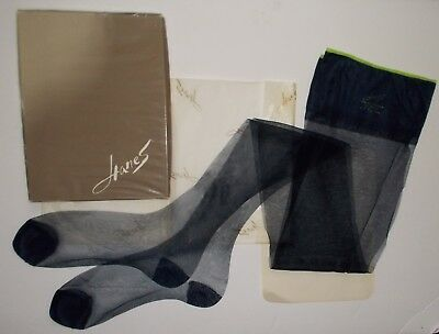 "Vintage Hanes Reinforced Sheer Stockings 1 pr. 9 1/2 x 35""  Long Navy"