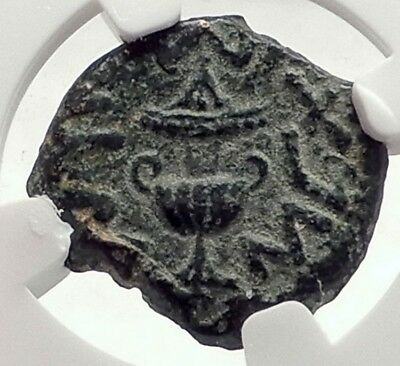 Authentic Ancient JEWISH WAR v ROMANS 68AD Yr3 JERUSALEM Coin AMPHORA NGC i70854
