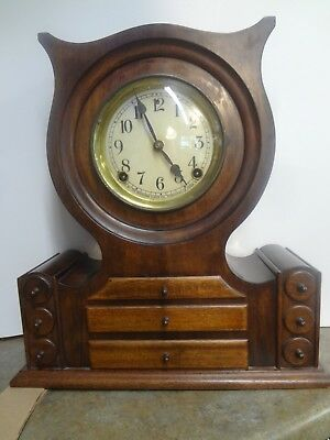 8 Day T & S GOTHIC Unusual MANTLE CLOCKfinely crafted 9 drawerKey & bob