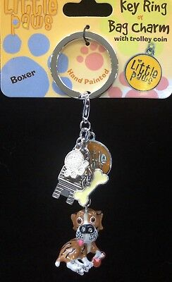 Little Paws Boxer Key Ring with Charms Arora Design NEW