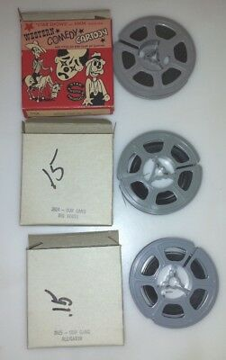 """3  - 8 mm short Our Gang Movies  and 9   2 7/8"""" empty reels"""