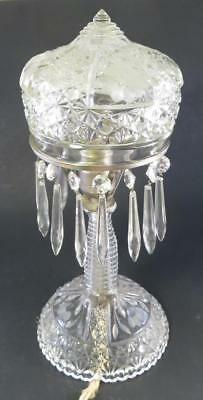 Antique Brilliant Cut And Pressed Glass Boudoir Lamp Luster Dangles For Parts