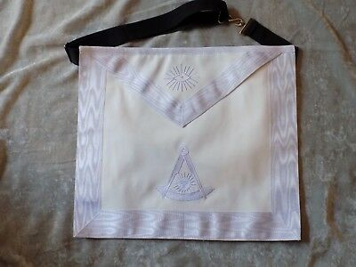 All White Trim Masonic Past Master Apron No Square Freemason Leather Style NEW!