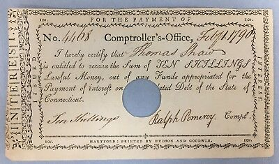 1790 Payment for 10 Shillings Connecticut Comptroller's Office No. 4468 #NZ573