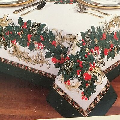 Vintage Christmas Tablecloth 60 x 84 Holly Scroll White Green Gold Red Pinecones
