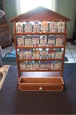 1989 Lenox 24 piece Spice Village set with display rack in good condition