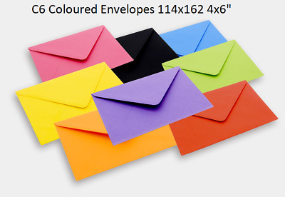 """100 x C6 Coloured Envelopes 114x162 4x6"""" Greeting Cards Party Invitations Crafts"""