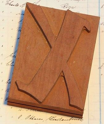 letter: X rare unused wood type letterpress printing block woodtype font antique