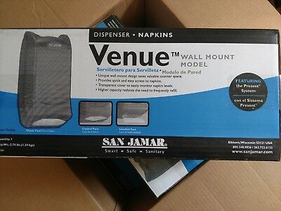 Commercial Wall Mount Napkin Dispenser San Jamar Venue Black, 600 Napkin Ct