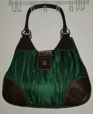 39f050be5936 Prada hobo bag Dark green and brown Large silver buckle Zara H&M casual  style